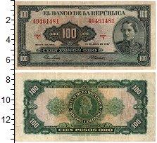 Изображение Банкноты Колумбия 100 песо 1967  VF+ Сантандер