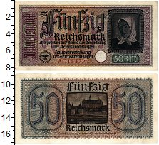 Изображение Банкноты Третий Рейх 50 марок 1940  XF Для оккупированных т