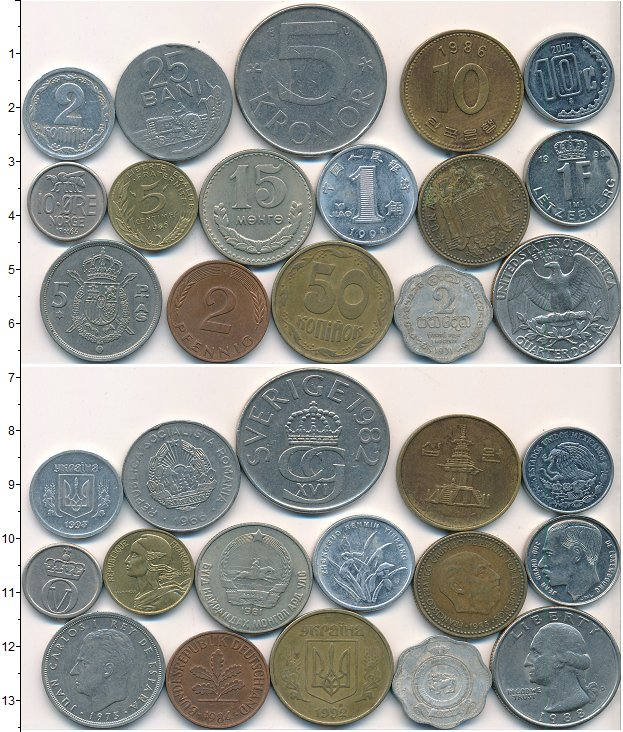 Изображение Лоты монет для начинающих нумизматов Монеты стран мира Лот №01787 0