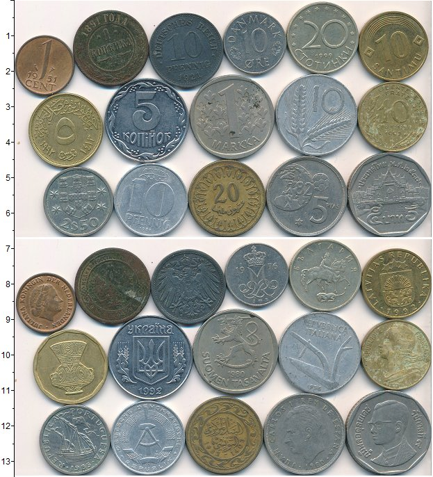 Изображение Лоты монет для начинающих нумизматов Монеты стран мира Лот №01795 0