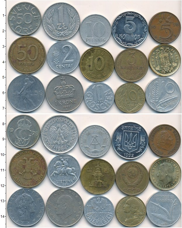 Изображение Лоты монет для начинающих нумизматов Монеты стран мира Лот №01796 0