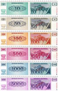 Изображение Банкноты Словения Набор из 6 бон 1990  UNC Образец (VZOREC). В
