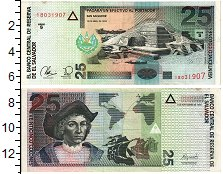 Изображение Банкноты Сальвадор 25 колон 1999  XF