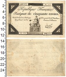 Изображение Банкноты Франция 50 ливров 1792  XF