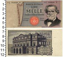 Изображение Банкноты Италия 1000 лир 1977  XF+ Дж.Верди