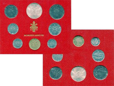 Изображение Подарочные монеты Ватикан Набор монет 1974 года 1974