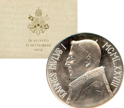 Изображение Подарочные монеты Ватикан 1000 лир 1978 Серебро UNC
