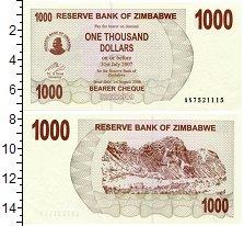 Изображение Банкноты Африка Зимбабве 1000 долларов 2006  UNC
