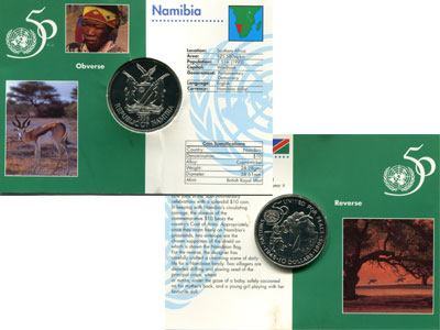 Изображение Подарочные монеты Намибия 10 долларв 1995 Медно-никель UNC