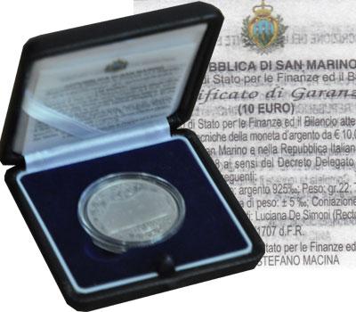 Изображение Мелочь Сан-Марино 10 евро 2008 Серебро Proof