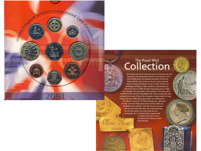 Изображение Подарочные монеты Европа Великобритания Годовой набор 2001 2001  AUNC