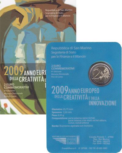 Изображение Подарочные монеты Европа Сан-Марино 2 евро 2009 Биметалл