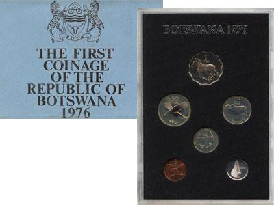 Изображение Подарочные монеты Африка Ботсвана Выпуск 1976 года 1976  BUNC