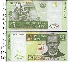 Изображение Банкноты Малави 5 квач 1989  UNC