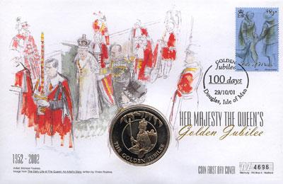 Изображение Подарочные монеты Фолклендские острова Золотой юбилей королевы 2002 Медно-никель UNC