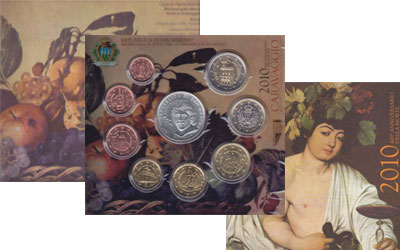 Изображение Подарочные монеты Сан-Марино 400- летие творчества Микеланджело Меризи де Караваджо 2010  UNC