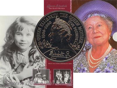 Изображение Подарочные монеты Великобритания Королева-мать 2000 Медно-никель AUNC