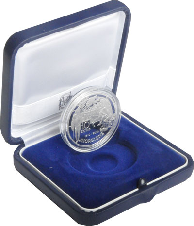Изображение Подарочные монеты Европа Италия 500-летие Джорджоне 2010 Серебро Proof