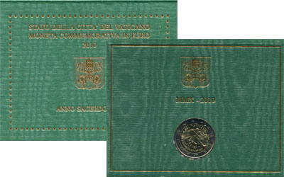Изображение Подарочные монеты Ватикан 2 евро 2010 Биметалл UNC