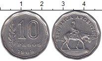 Изображение Мелочь Южная Америка Аргентина 10 песо 1962 Медно-никель XF