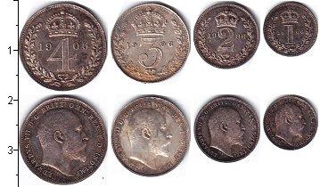 Изображение Наборы монет Великобритания Эдуард VII, Маунди-сет 1906 (Благотворительный набор) 1906 Серебро Prooflike