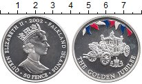 Изображение Монеты Великобритания Фолклендские острова 50 пенсов 2002 Серебро