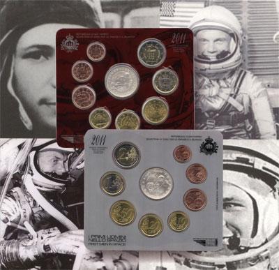 Изображение Подарочные монеты Европа Сан-Марино 50- летие первого полета Ю, Гагарина в космос 2011  UNC