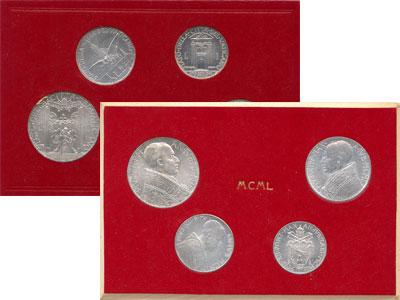 Изображение Подарочные монеты Европа Ватикан Выпуск монет 1950 года 1950 Алюминий UNC