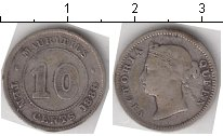 Изображение Монеты Маврикий 10 центов 1886 Серебро VF Королева Виктория