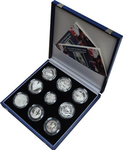 Изображение Подарочные монеты Великобритания 50-летие окончания Второй мировой войны 1995 Серебро Proof-
