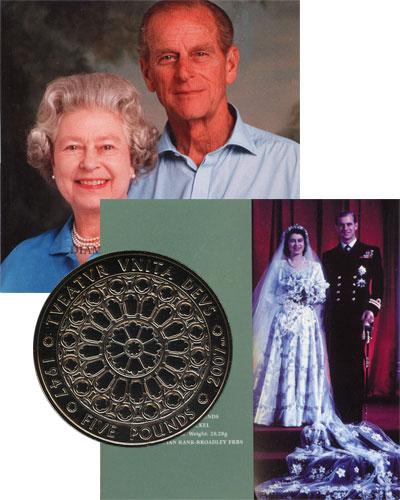 Изображение Подарочные монеты Великобритания Бриллиантовая свадьба королевы Елизаветы и Филиппа 2007 Медно-никель UNC