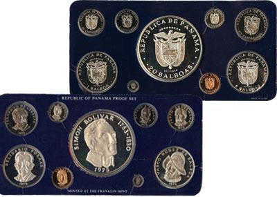 Изображение Подарочные монеты Панама Симон Боливар 1975  Proof