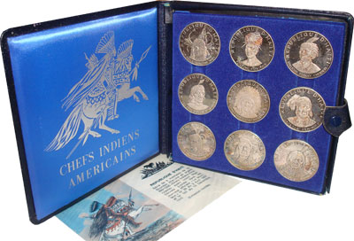 Изображение Подарочные монеты Гаити Индейцы 1971 Серебро Proof-