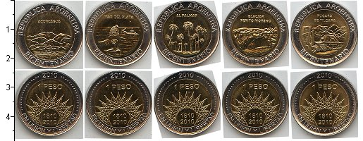 Изображение Наборы монет Южная Америка Аргентина Аргентина 2010 2010 Биметалл UNC-
