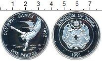 Изображение Монеты Тонга 1 паанга 1991 Серебро Proof- Олимпиада 1992 в Бар