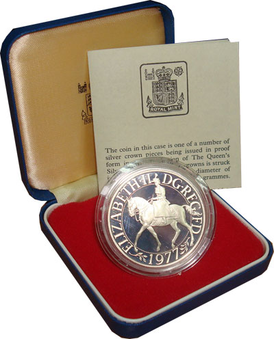 Изображение Подарочные монеты Великобритания 1 крона 1977 Серебро Proof
