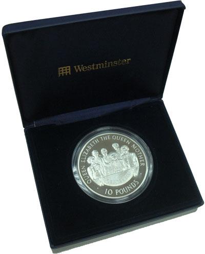 Изображение Подарочные монеты Великобритания Олдерни Королева-мать 2000 Серебро Proof