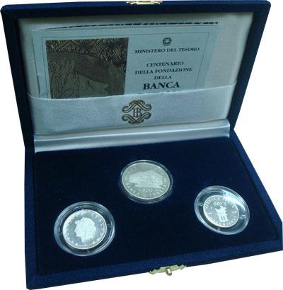 Изображение Подарочные монеты Италия 100-летие банка Италии 1993 Серебро Proof