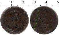 Изображение Монеты Ганновер 2 пфеннига 1845 Медь
