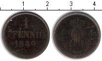 Изображение Монеты Германия Ганновер 1 пфенниг 1849 Медь