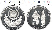 Изображение Мелочь Азия Северная Корея 5000 вон 1987 Серебро Proof