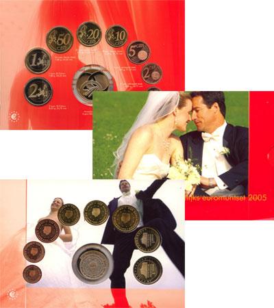Изображение Подарочные монеты Европа Нидерланды Свадебный евронабор 2005  UNC