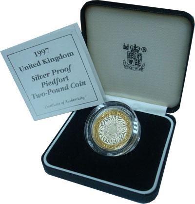 Изображение Подарочные монеты Великобритания 2 фунта 1997 Серебро Proof
