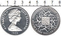 Изображение Монеты Новая Зеландия 1 доллар 1974 Серебро Proof-