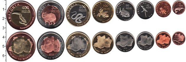 Изображение Наборы монет Бразилия Амазония Бразилия 2012 2012  UNC-