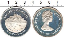 Изображение Монеты Остров Джерси 25 пенсов 1977 Серебро