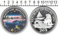 Изображение Монеты Палау 20 долларов 1994 Серебро Proof Защита морской жизни