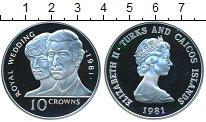 Изображение Монеты Теркc и Кайкос 10 крон 1981 Серебро Proof-
