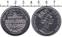 Изображение Мелочь Остров Мэн 1 крона 2000 Медно-никель UNC Падение берлинской с