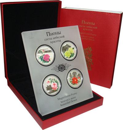 Изображение Подарочные монеты Острова Кука Пионы- цветы небесной красоты 2008 Серебро UNC